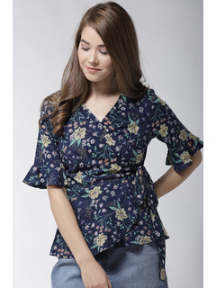 A Floral Galore Blue Top