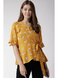 A Floral Galore Yellow Top