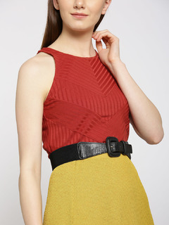 Black Animal Textured Waist Belt