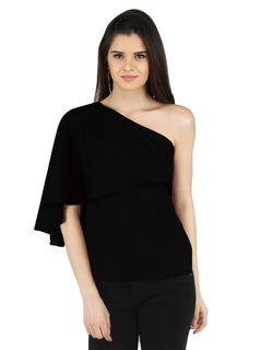 Apparel-Black Drapes Of The Cape Top