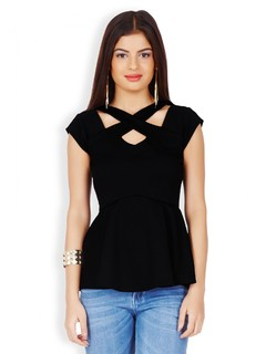 Black Party Until Nightfall Peplum Top