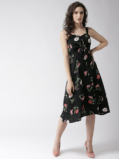 Black The Floral Paradise Midi Dress