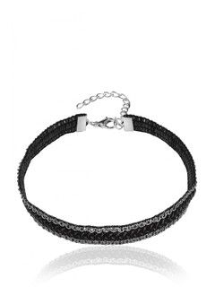Black Track Choker Necklace