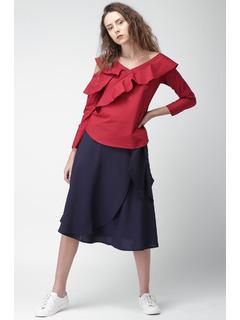 Apparel-Blue Knot Around Me Wrap Skirt