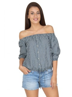 Button Down Stripe Off Shoulder Top