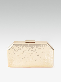 Bags-Neatly Carved In Gold Box Clutch