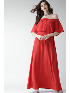 Coral Flare It Up Maxi Dress