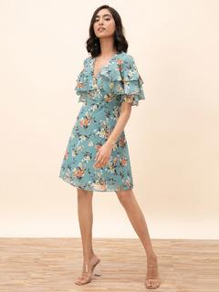 Apparel-Ruffle On The Wrap Dress