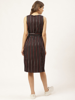 Apparel-Pin Them In Stripe Shirt Dress