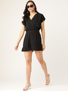 Apparel-The Cutest Pleat Black Playsuit