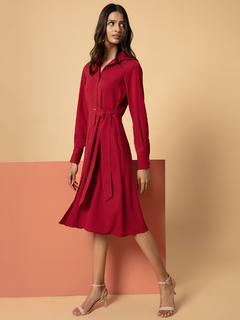Apparel-Red It Is A Tie Dress