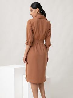 Apparel-Beige Work In Style Dress