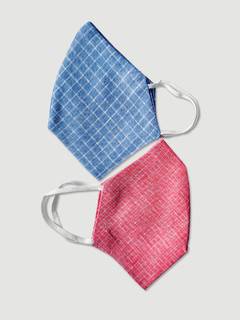 Accessories-Multicolor Checks Woven Reusable Face Mask Pack