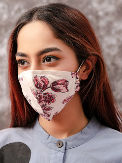 Accessories-Beige Floral Printed Reusable Face Mask Pack