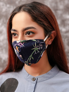 Accessories-Navy Blue Floral Printed Reusable Face Mask Pack