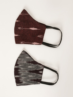 Accessories-Maroon Multicolor Ikat Yarn Dyed Reusable Face Mask Pack