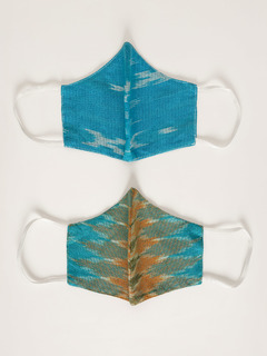 Accessories-Blue Ikat Yarn Dyed Woven Reusable Face Mask Pack