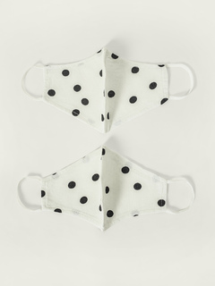 Accessories-White Polka Dot Printed Reusable Face Mask Pack