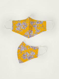 Accessories-Mustard Floral Printed Reusable Face Mask Pack