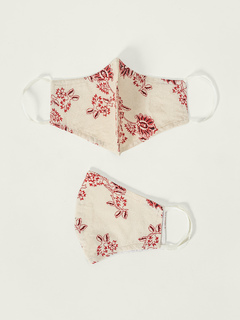 Accessories-Off White Floral Printed Reusable Face Mask Pack