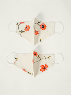 Accessories-White Floral Printed Reusable Face Mask Pack