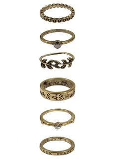 Accessories-Gold Love Peace And Luck Ring Set