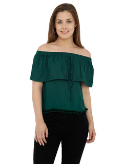 Green The Blushing Bardot Top