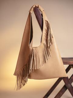 Bags-Beige On The Fringe Line Bag