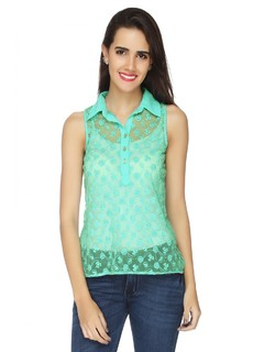 Life Underwater Sea Green Lace Top