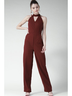 Maroon Cutting Up The Choker Jumpsuit