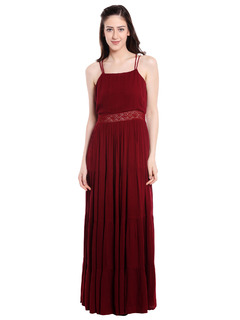 Maroon Tiers Of Bohemian Maxi Dress