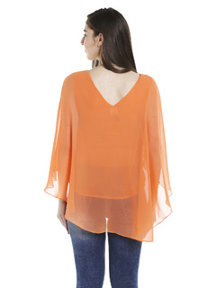 Apparel-Orange Fly Away Cape Top