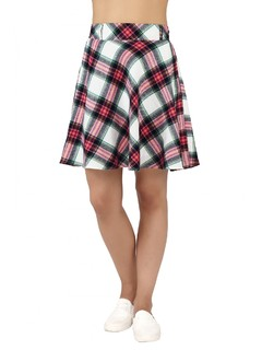 Apparel-Plaid In Colours Skater Skirt