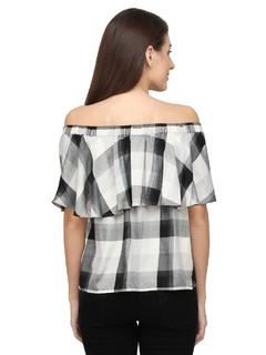 Apparel-Play Of Checkers Bardot Top