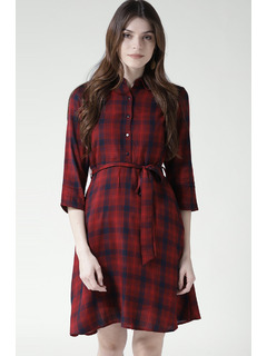 Playful In Plaid Shirt Dress