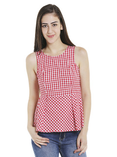 Red Check Me Out Peplum Top