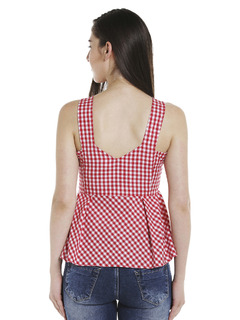 Apparel-Red Check Me Out Peplum Top