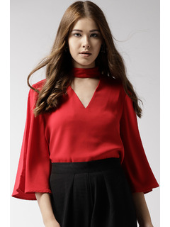 Red Flare Into Style Top