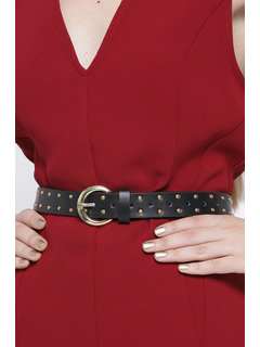 Starry Studded Black Buckle Belt