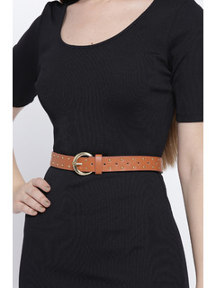 Starry Studded Brown Buckle Belt