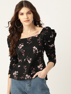 Apparel-Black Ruched In Floral Peplum Top