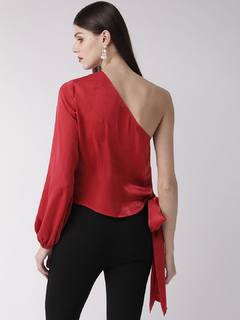 Apparel-Red Tied Up In Style Top