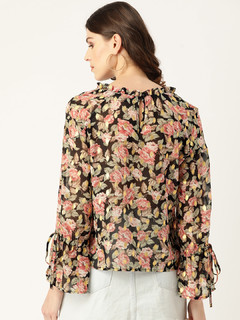 Apparel-Shimmer Through Floral Top