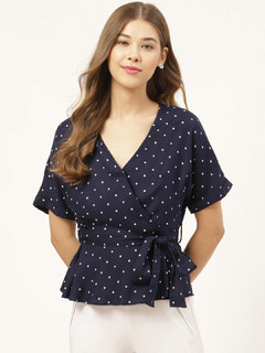 Apparel-Polka Keep It Tied Wrap Top