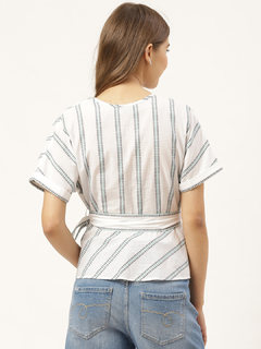 Apparel-Stripe Keep It Tied Wrap Top