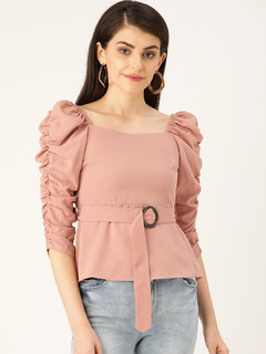 Apparel-Belt It Peplum Top