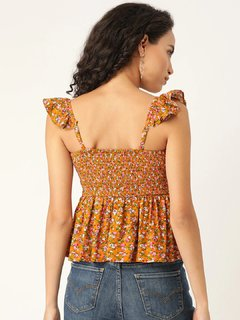 Apparel-Ruffles In Floral Top