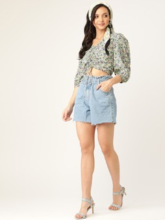 Apparel-String Me Up Green Floral Top