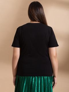 Apparel-Black Express Your Basic Side Tshirt