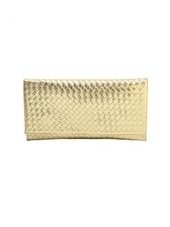 The Gold Edition Braided Envelope Clutch